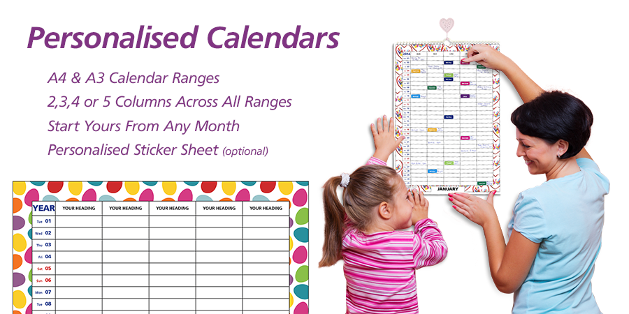 People 2019 2020 2021 A3 Personalised Family Calendar Organiser 2 3 4 5 Column