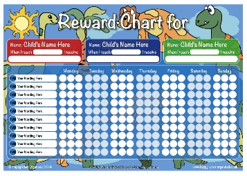 ... PERSONALISED 1,2 or 3 Childrens Girls Boys Reward Chart Dinosaur Theme