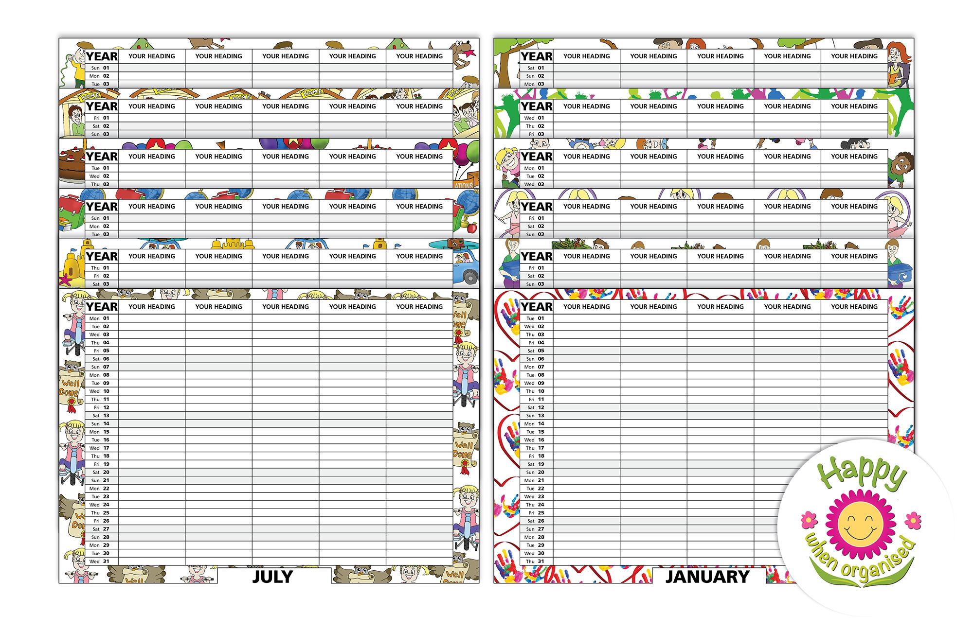 Family Calendars : Family organiser calendar standard